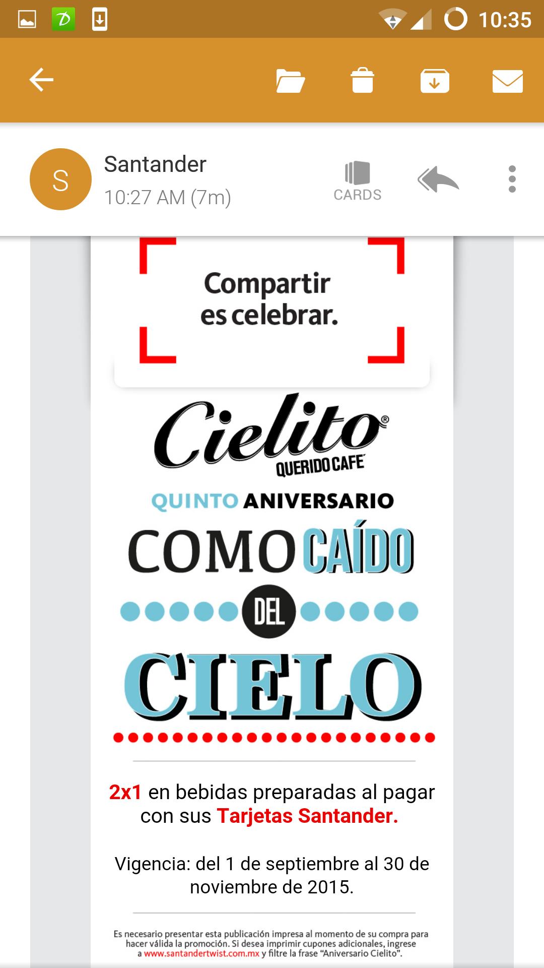 Cielito café: 2 x 1 con Santander