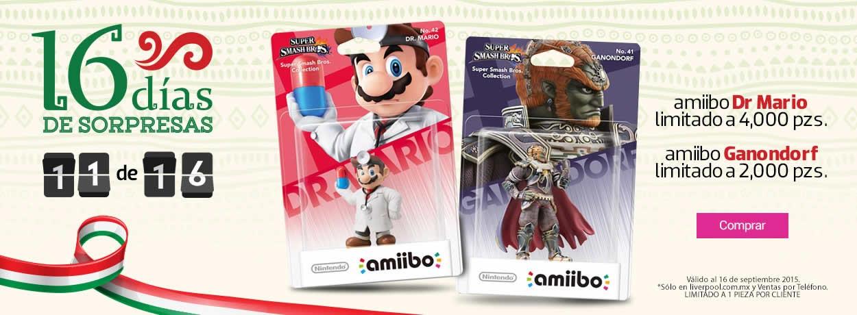 16 Días de Sorpresas en Liverpool.com.mx día 11: Amiibo Dr. Mario y Ganondorf