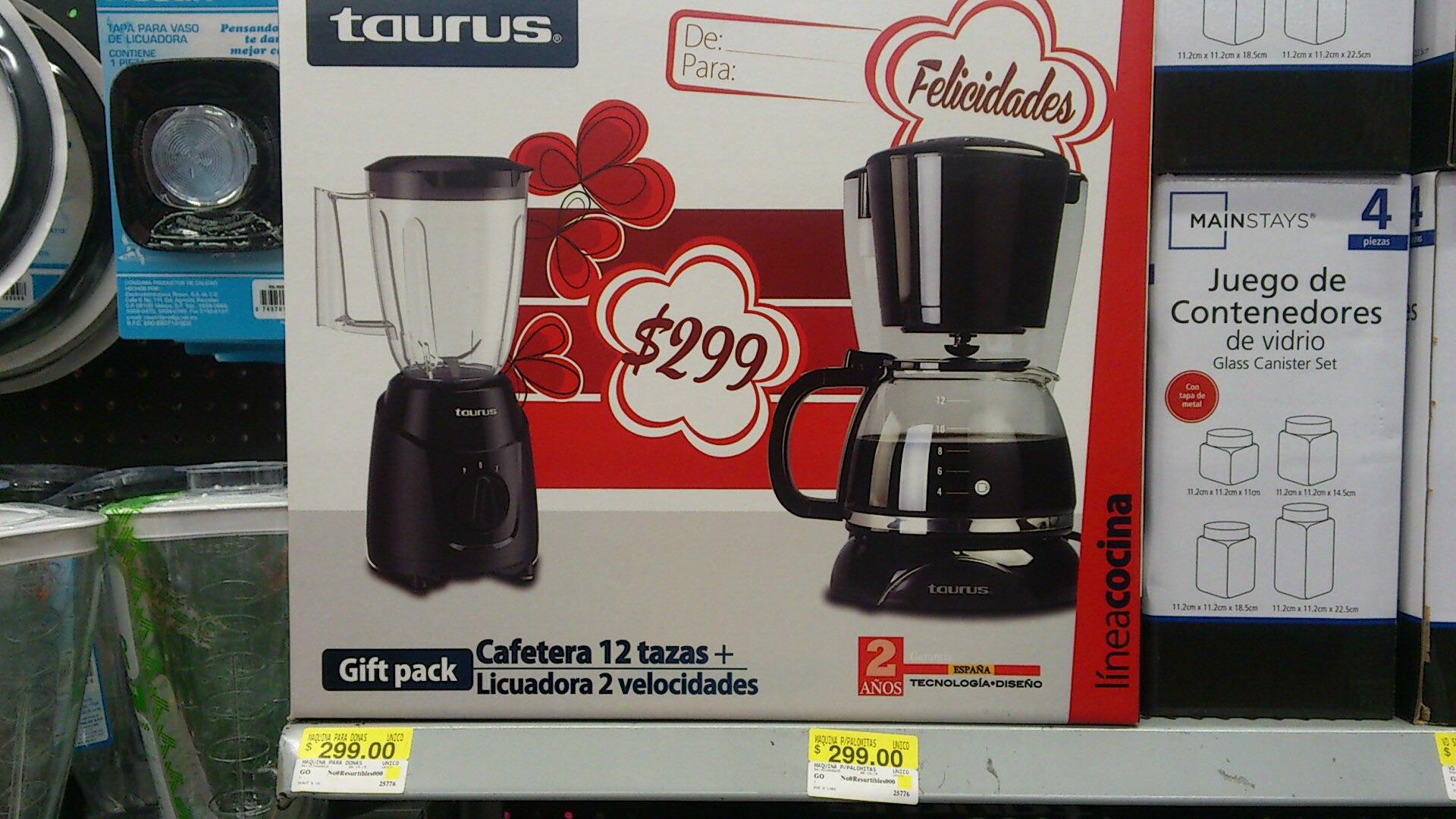 Bodega Aurrerá: Cafetera + licuadora Taurus $299