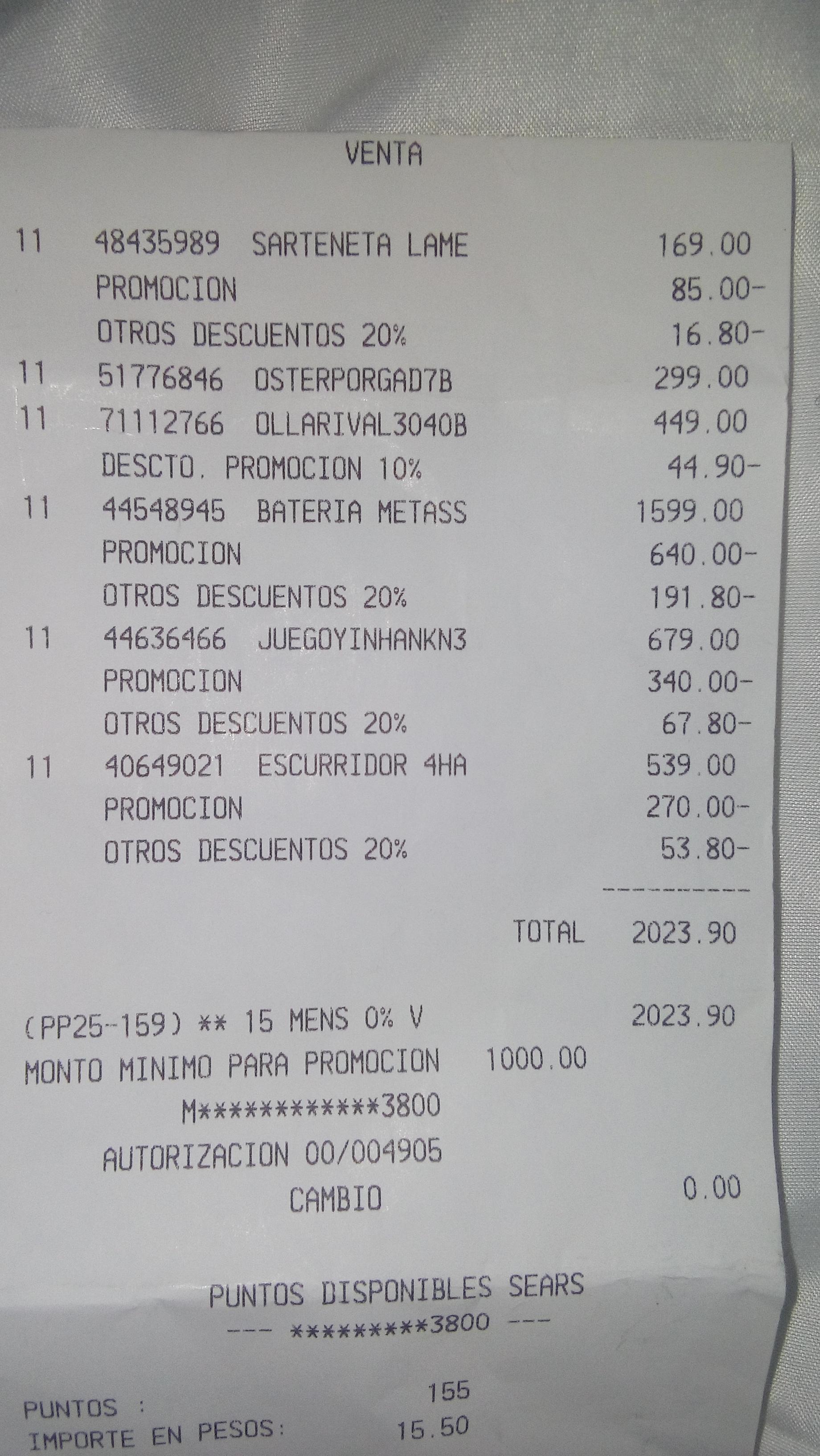 Ofertas Sears 50% + 20% + 15 meses sin intereses + Pronovela