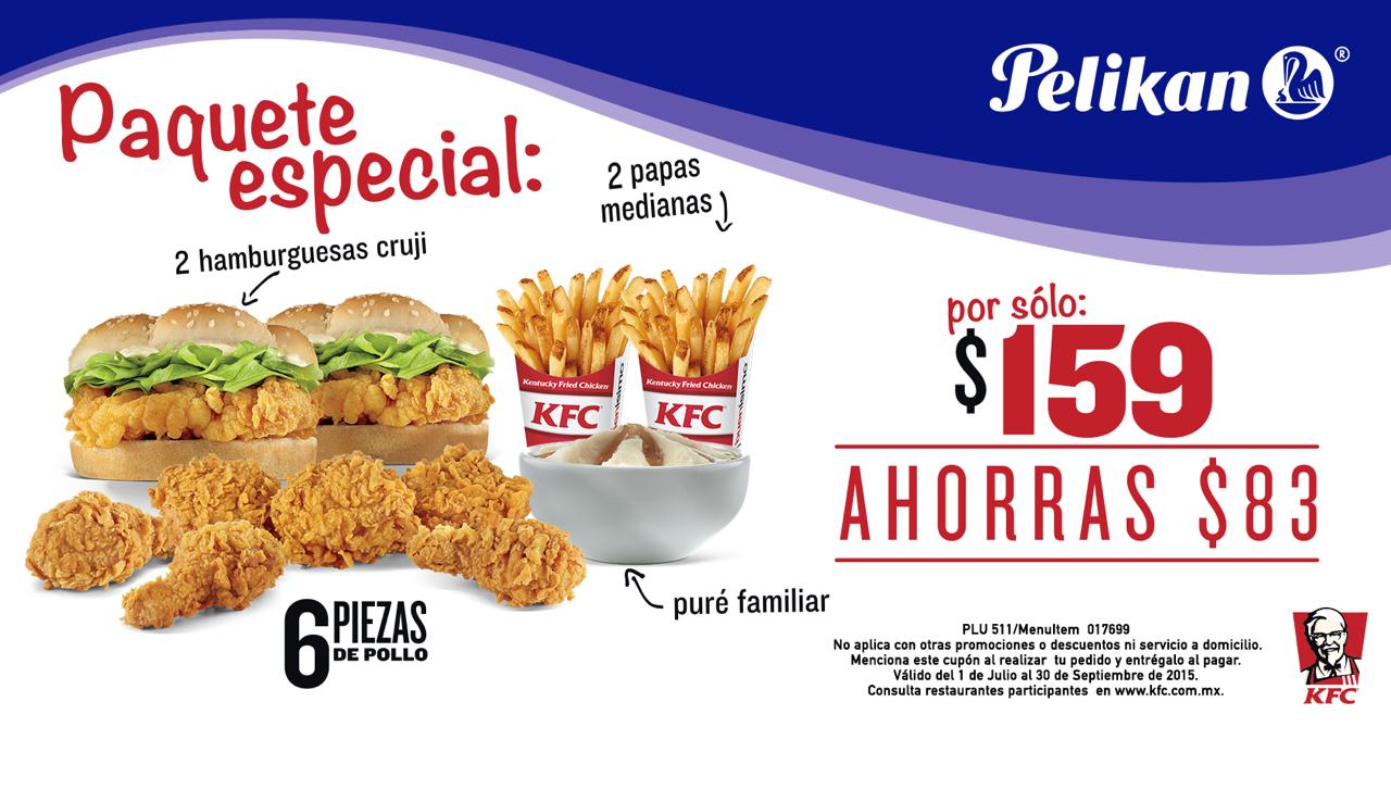 Cupon KFC: 6 piezas, 2 hamburguesas y 2 papas $159