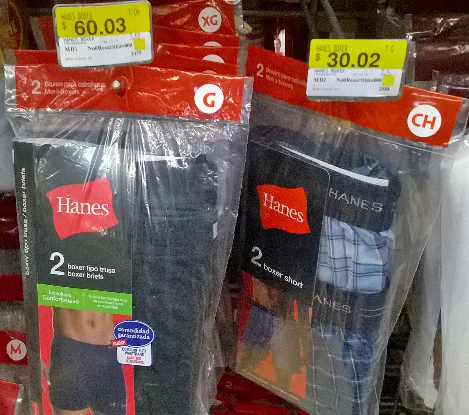 Wal-Mart Liquidación.Hanes $30.02 Boxers y Camisetas Sin Manga $60.02 Todas Las Tallas y Colores