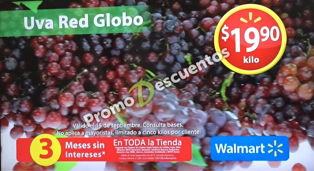 Martes de frescura en Walmart septiembre 15: Uva Red Globo a $19.90 el kilo y más