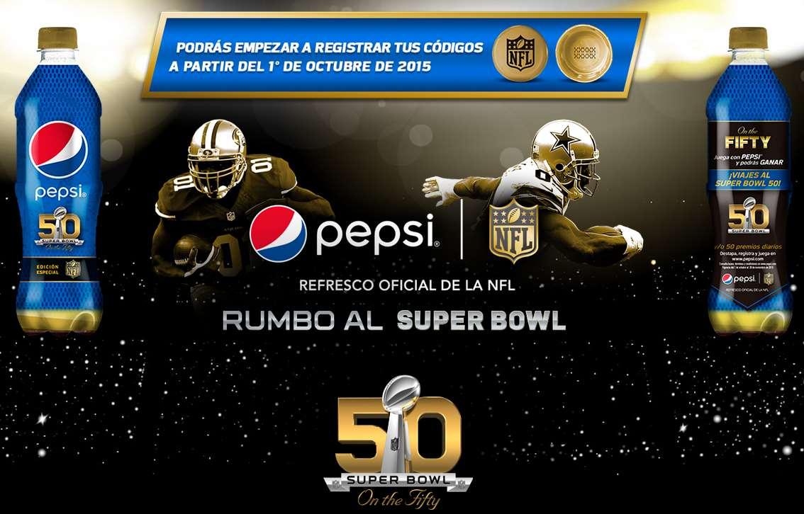 Promoción Pepsi Super Bowl (códigos canjeables para tienda NFL)