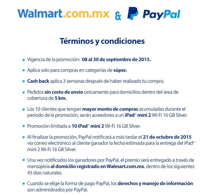 Walmart: Compra el súper en línea y te dan Cashback de 100 en compra mínima de 1000.
