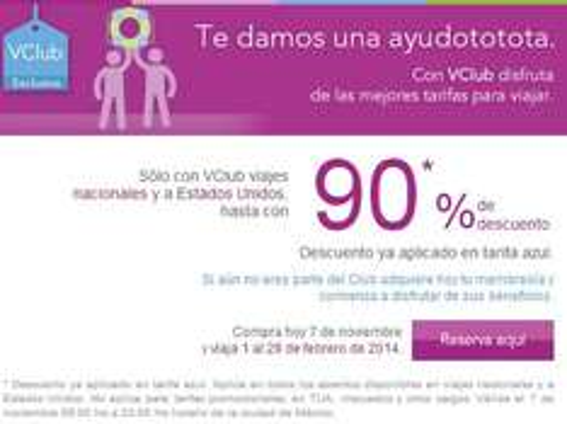 Volaris: hasta 90% de descuento para febrero con VClub (ejem: DF a Cancún redondo $672)