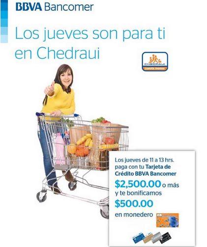 Chedraui: $500 de bonificación pagando $2,500 con Bancomer de 11 a 1