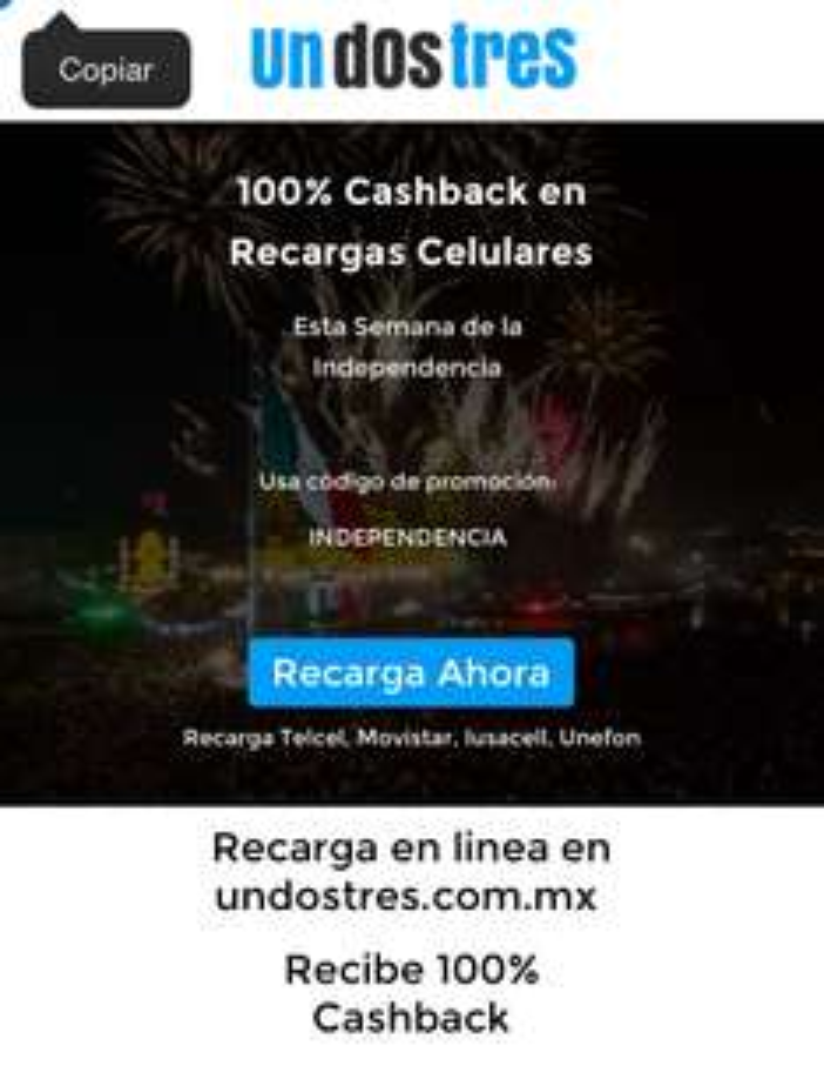 undostres.com.mx: 100% Cashback en tu Recarga Celular