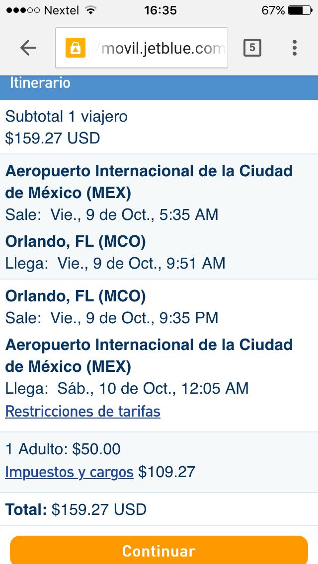 Oferta Vuelo Redondo Mexico/Orlando o Miami por 160 dlls