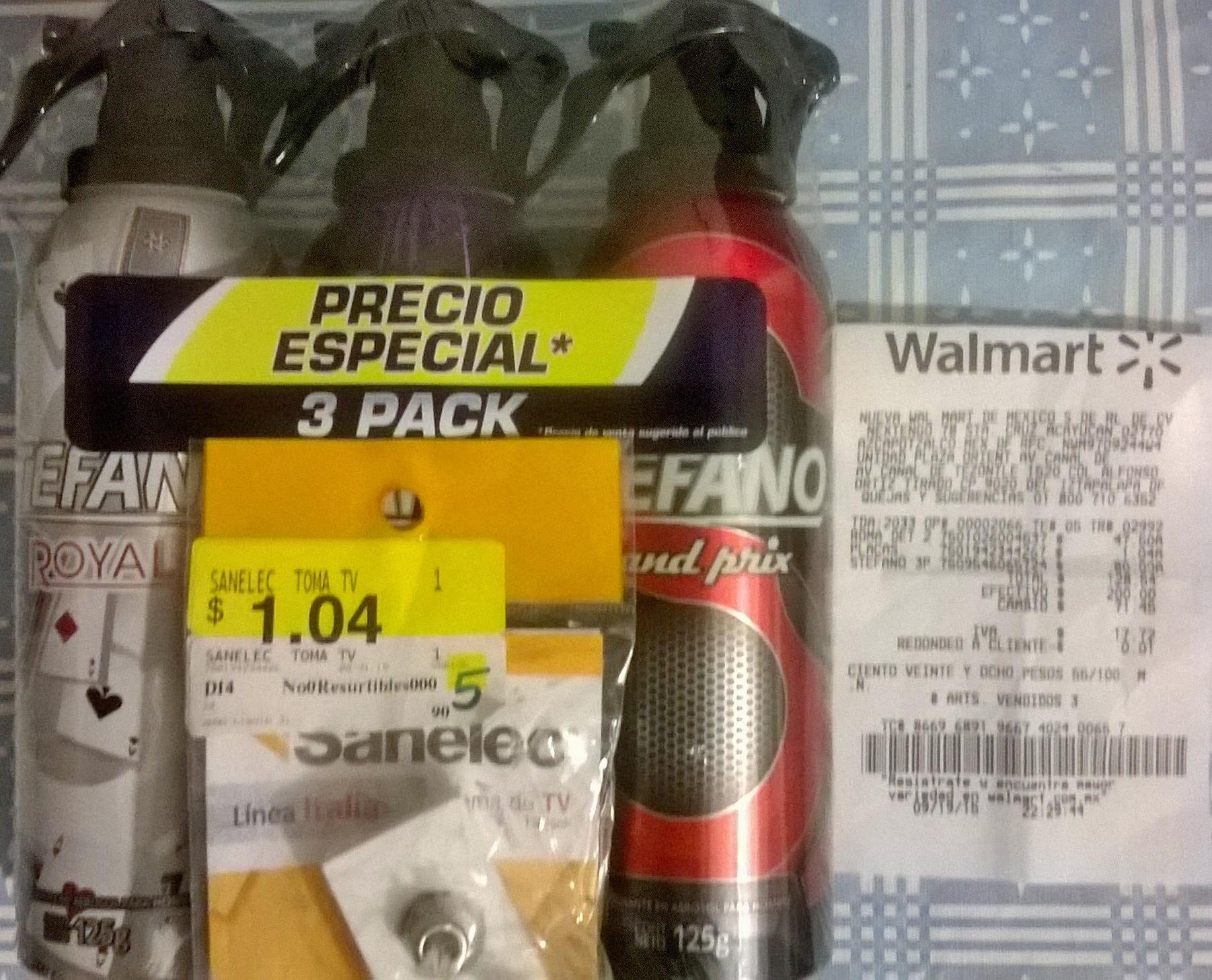 Walmart: Toma Tv $1.04 , Desorante Estefano 3 x $80