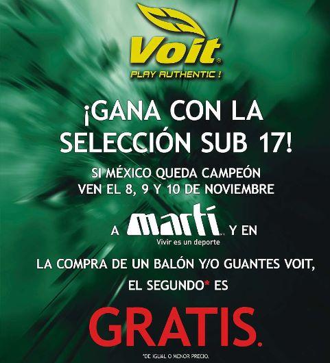 Martí: 2x1 en balones y guantes de fútbol Voit si México gana