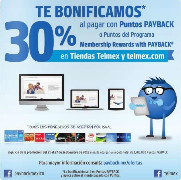 Tienda Telmex: 30% de bonificación pagando con puntos Payback o Membership Rewards