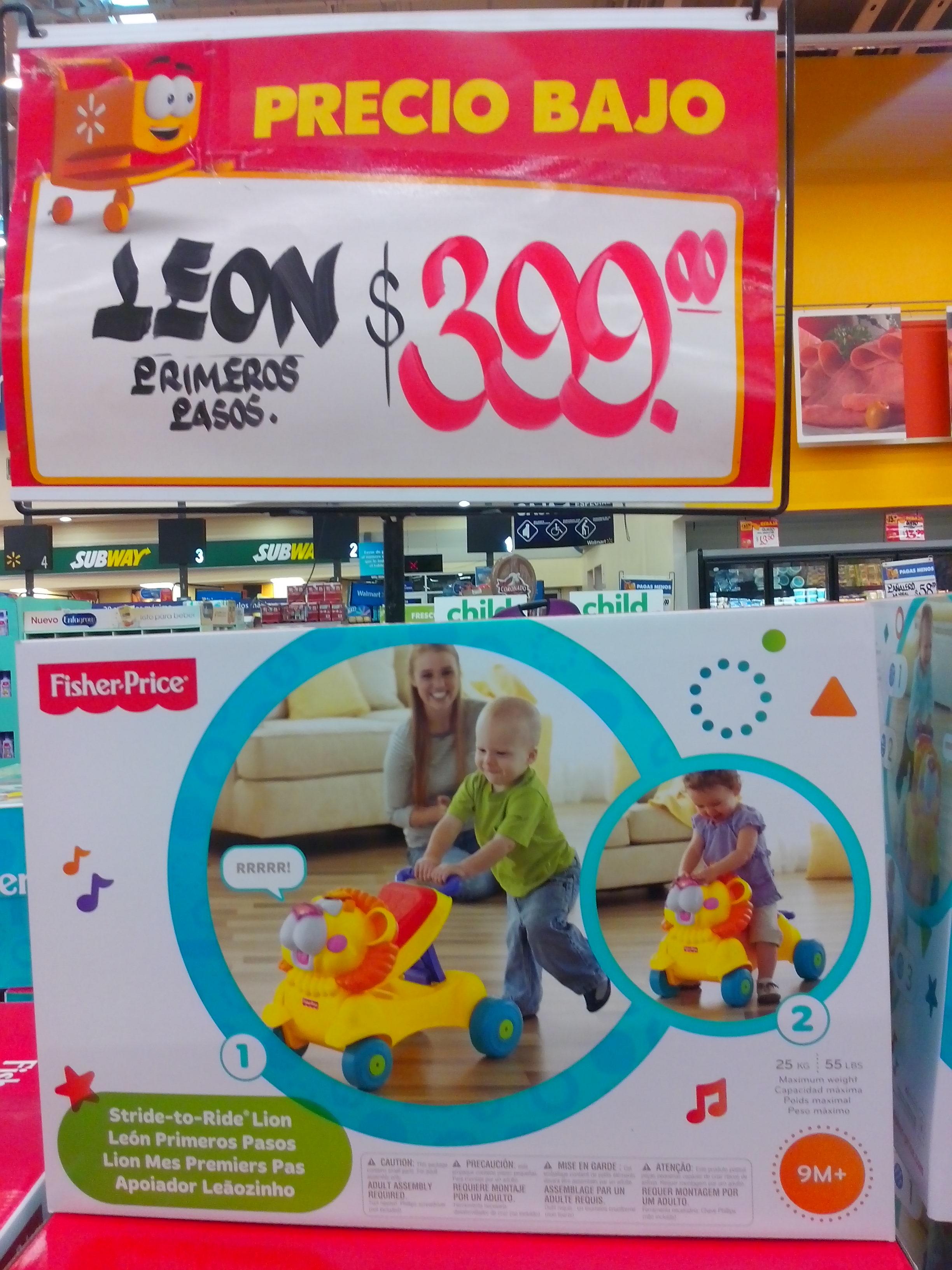 Walmart: León primeros pasos Fisher-Price a $399 y sandalias, corpiño brasier y paquete de 2 pantaletitas $30.02 cada uno