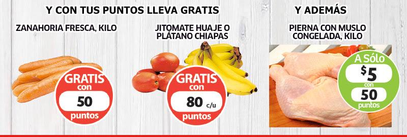 Soriana: Zanahoria, Jitomate y Platano Gratis con Puntos, Pierna y Muslo $5