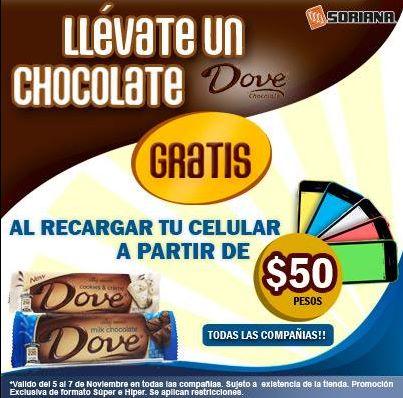 Soriana: chocolate Dove gratis haciendo una recarga mínima de $50