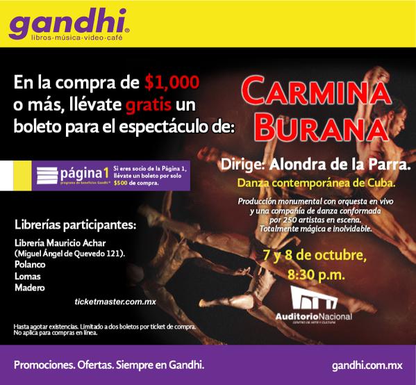 Gandhi: boleto gratis para Carmina Burana con compra mínima