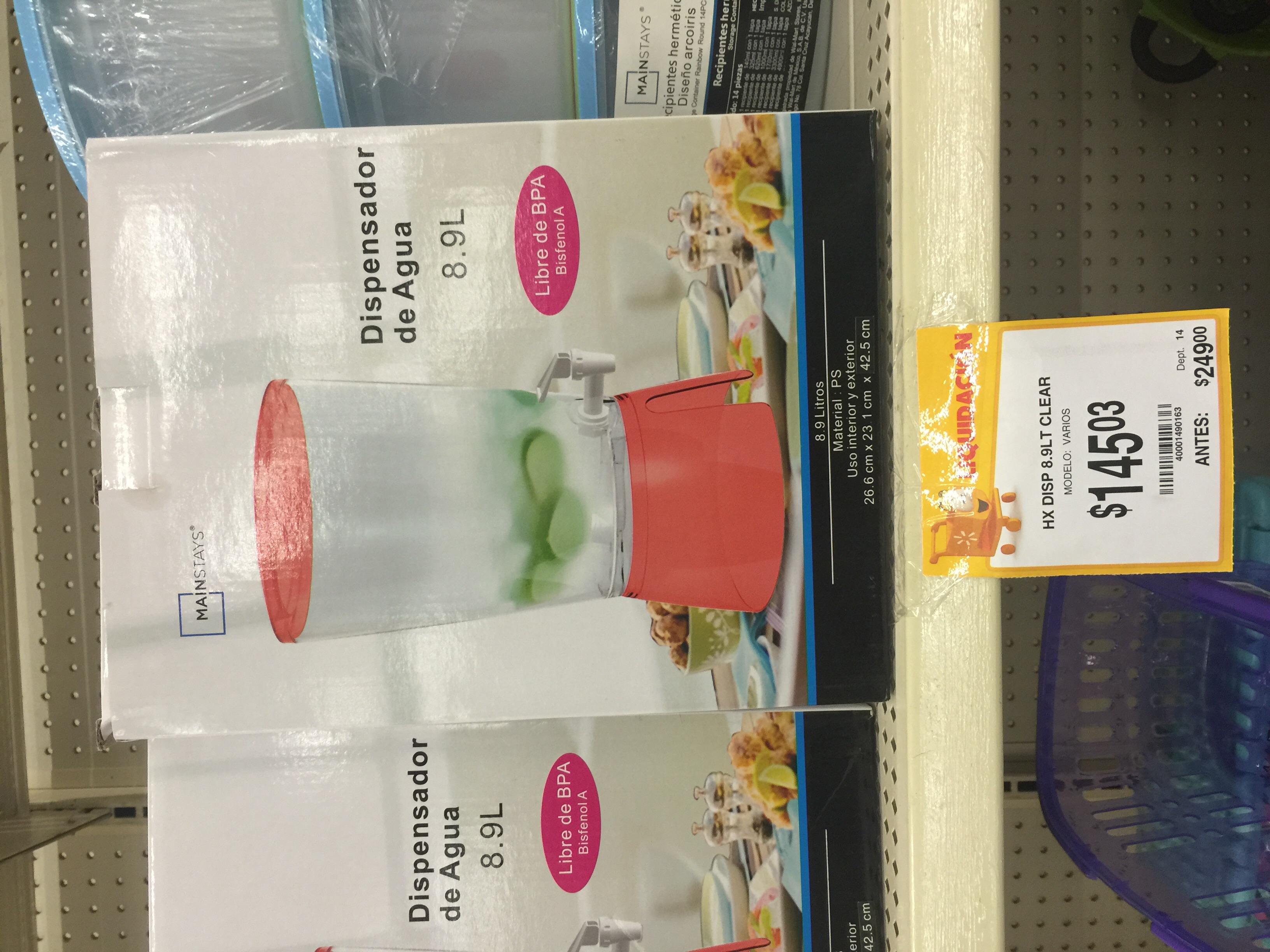 Walmart: dispensador de agua 8.9 L a $145.03