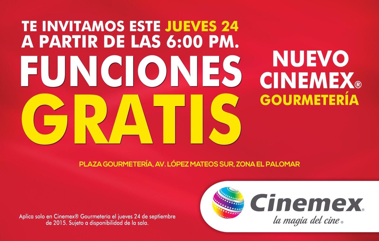 Cinemex la Gourmeteria (Guadalajara): entrada gratis hoy a partir de las 6