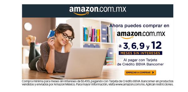 Amazon: 3, 6, 9 y 12 meses sin intereses con tarjetas de crédito Bancomer