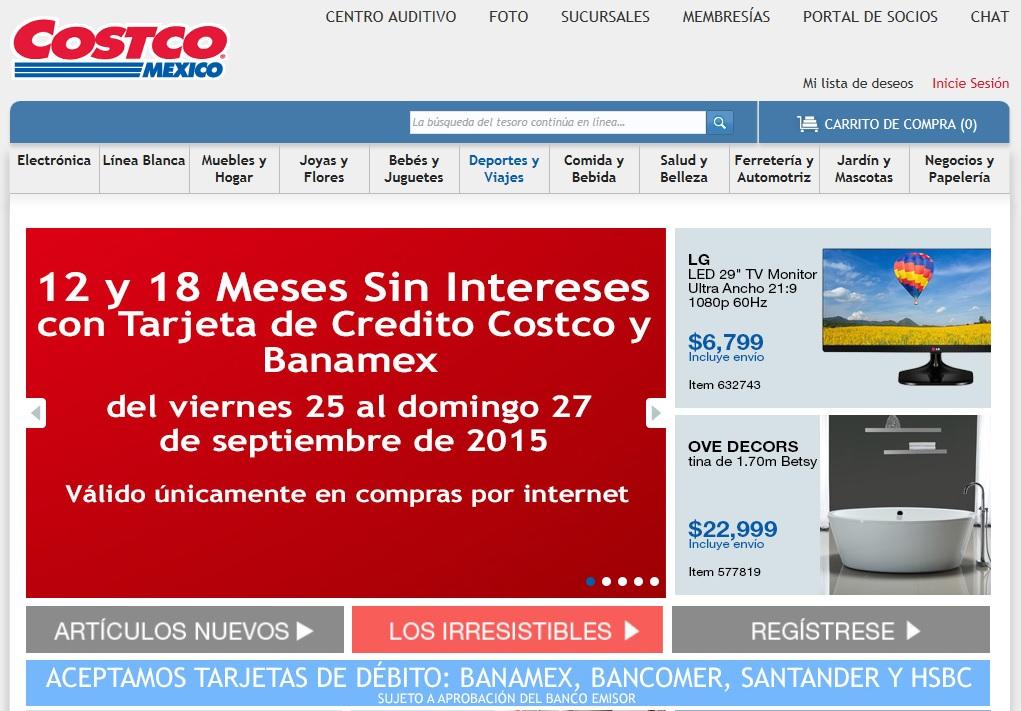 COSTCO, toda la tienda de Internet a 12 y 18 Meses Sin Intereses con Tarjetas de Crédito Costco y Banamex, del viernes 25 al domingo 27 de septiembre
