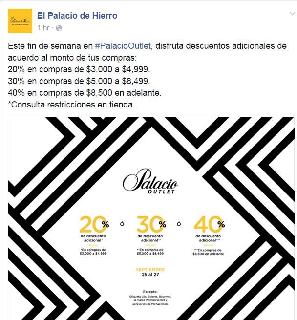 Palacio de Hierro OUTLET: 40% de descuento en compras superiores a 8500