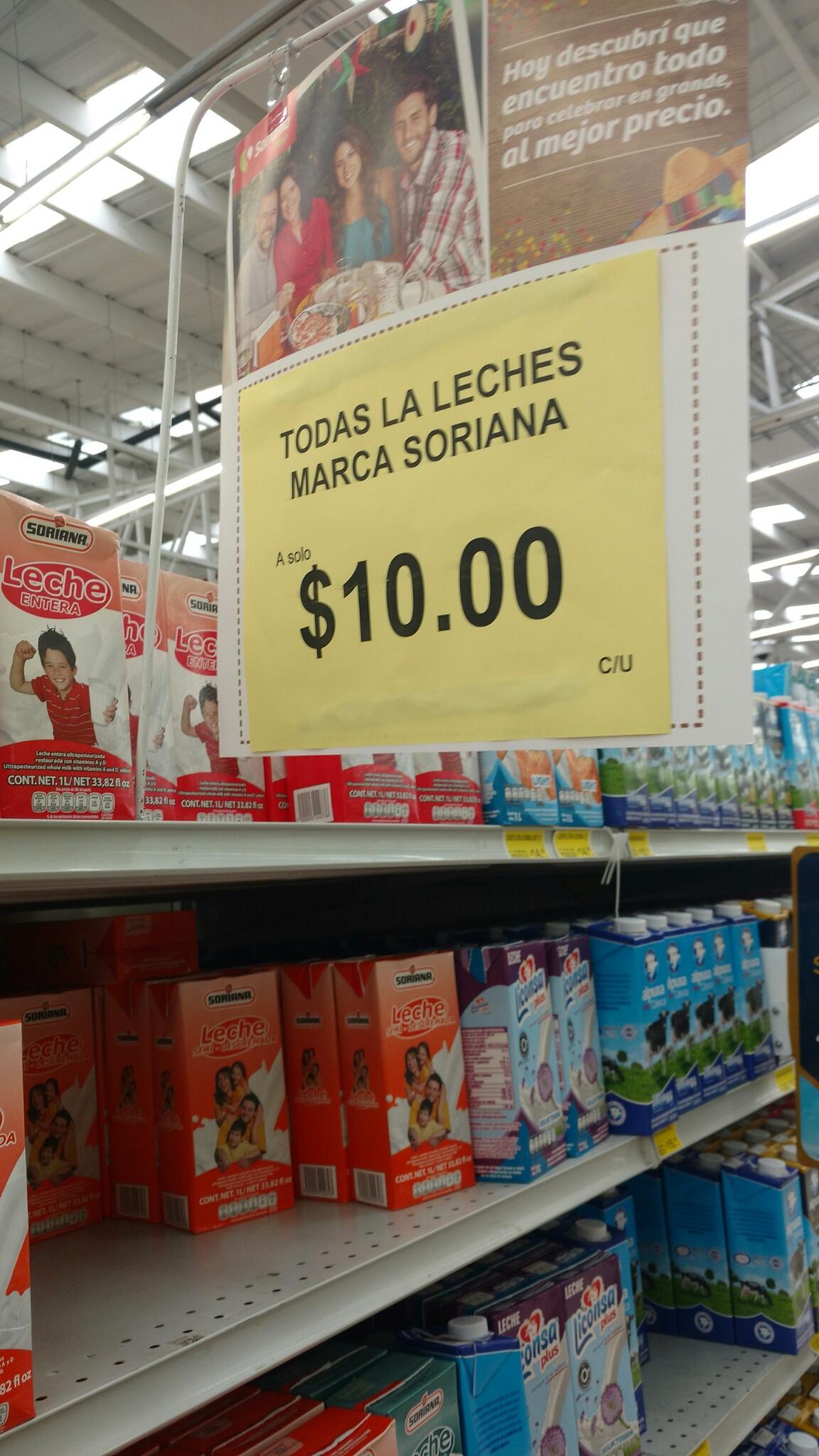 Todas las leches marca Soriana de 1Lt a $10