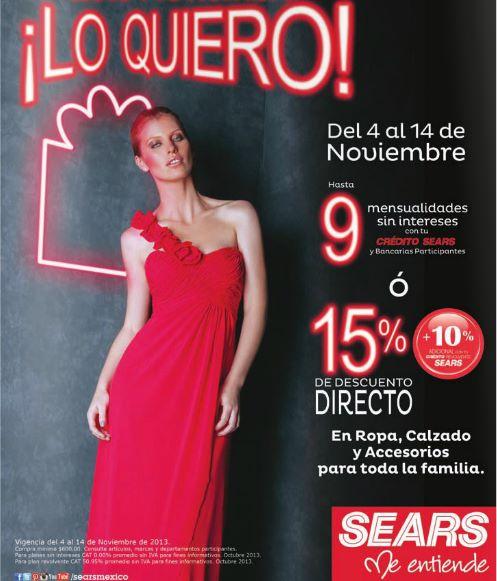 Sears: 15% de descuento en ropa, zapatos y accesorios