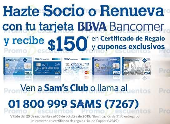 Sam's Club: $150 de bonificación + pagando membresía con Bancomer