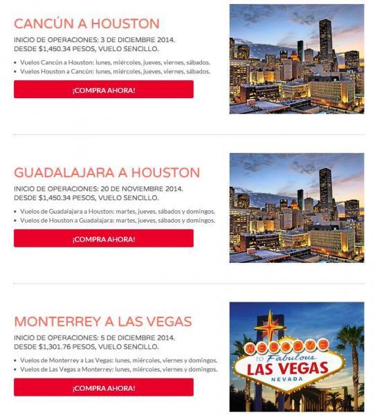 Vivaaerobus: nuevas rutas a Houston, Las Vegas y San Antonio