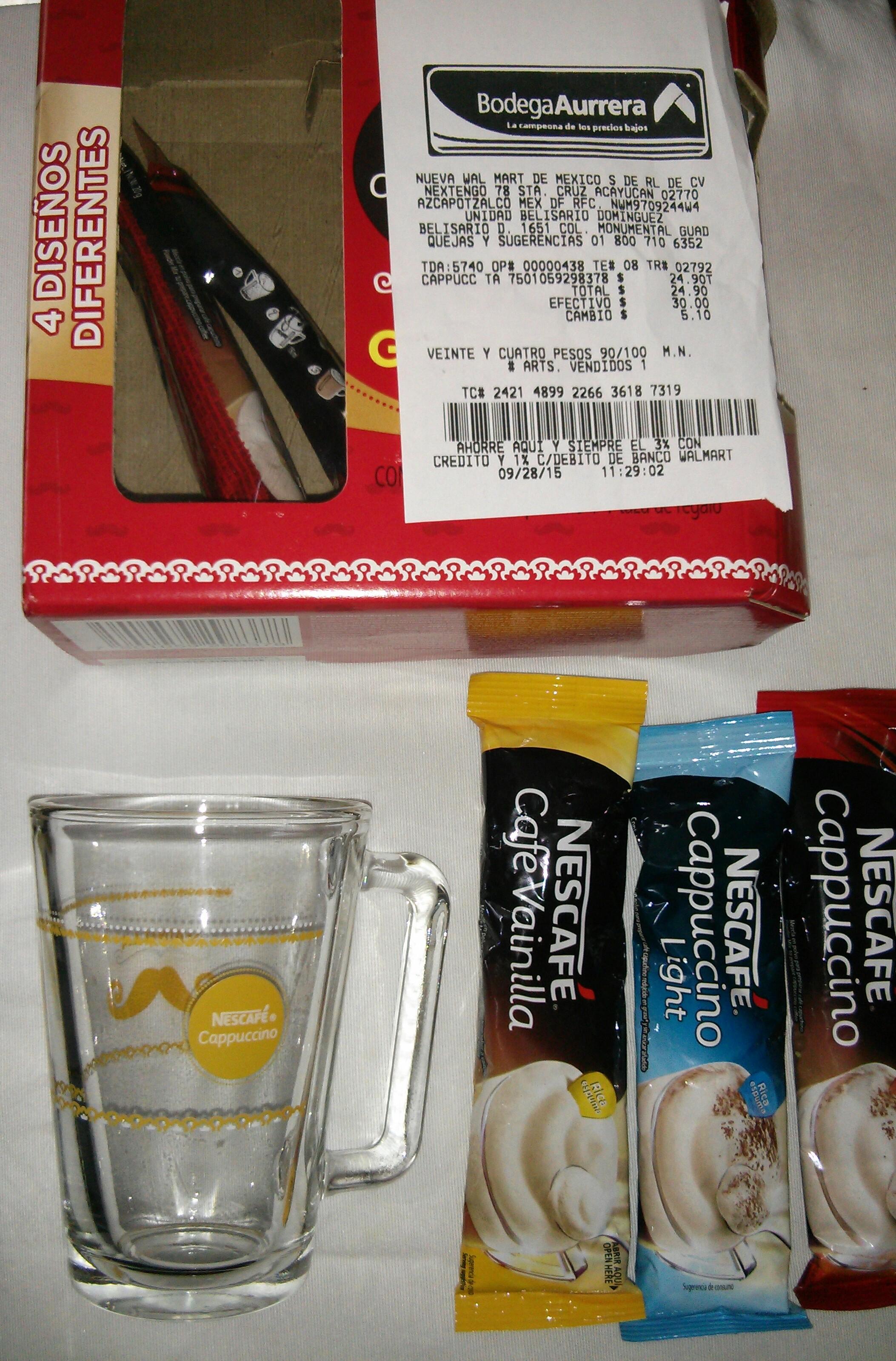 Bodega Aurrerá: 5 sobres Nescafé capuchino + taza $25