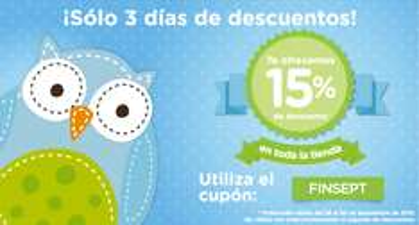 Descuento de 15% en tienda en línea bebe2go.com