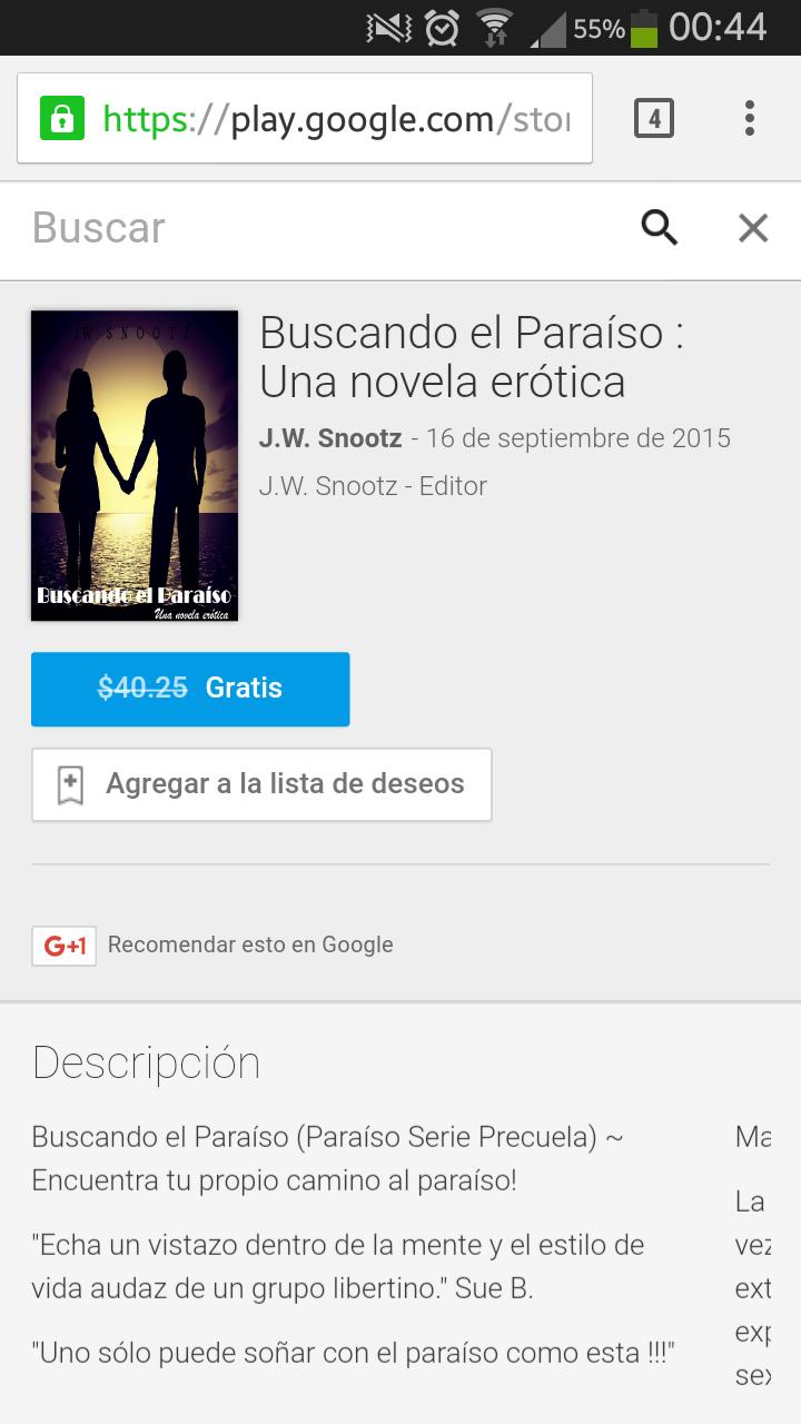 Google play: BUSCANDO EL PARAISO UNA NOVELA ERÓTICA. GRATIS