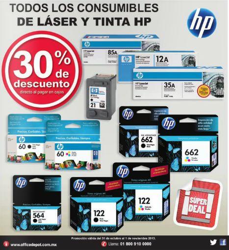 Office Depot: 30% de descuento en consumibles HP