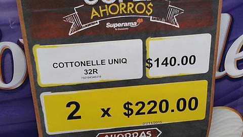 SUPERAMA papel cottonel 32 rollos 185 hojas 2x $220