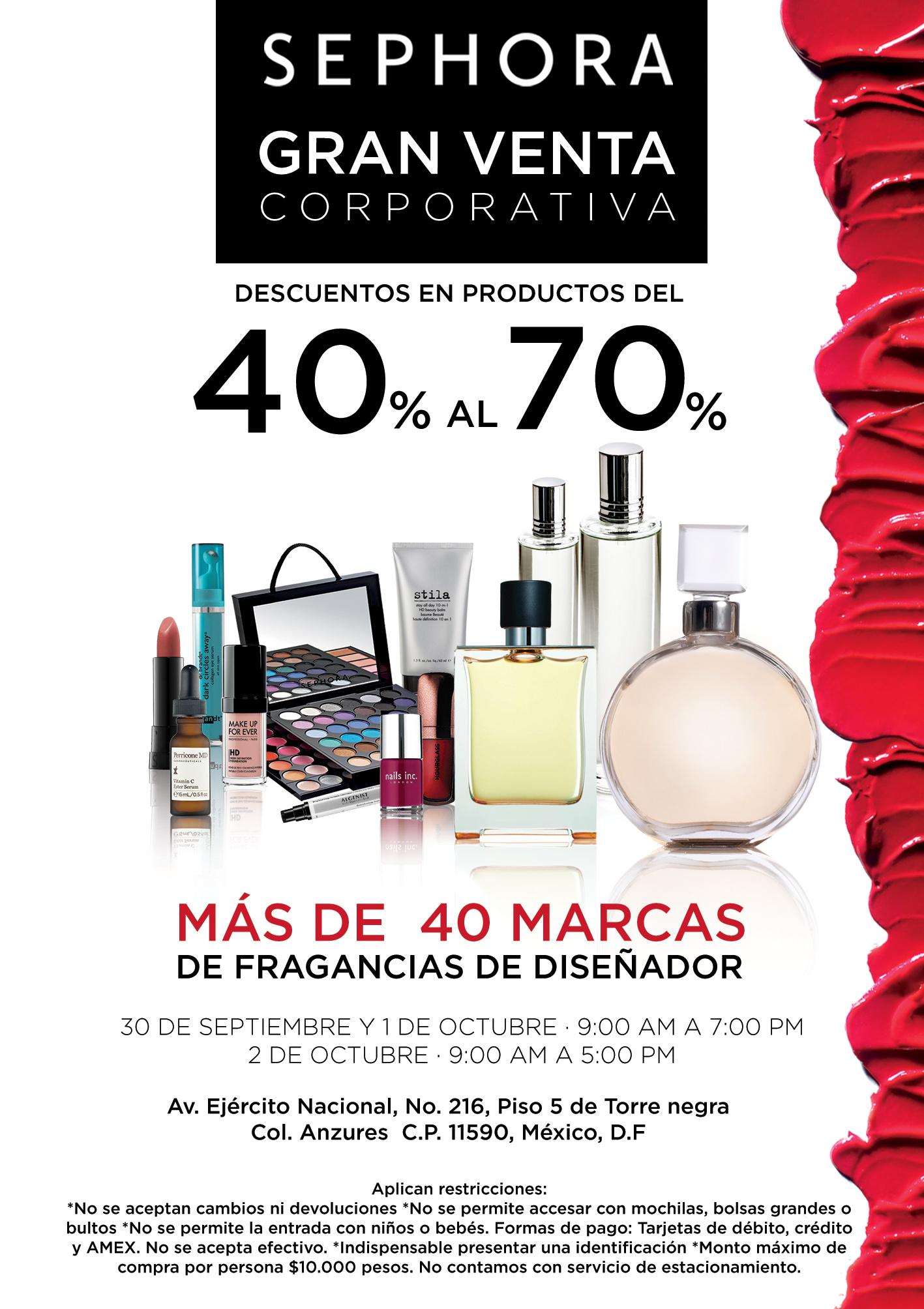 Venta Corporativa Sephora descuentos del 40 al 70% (DF)