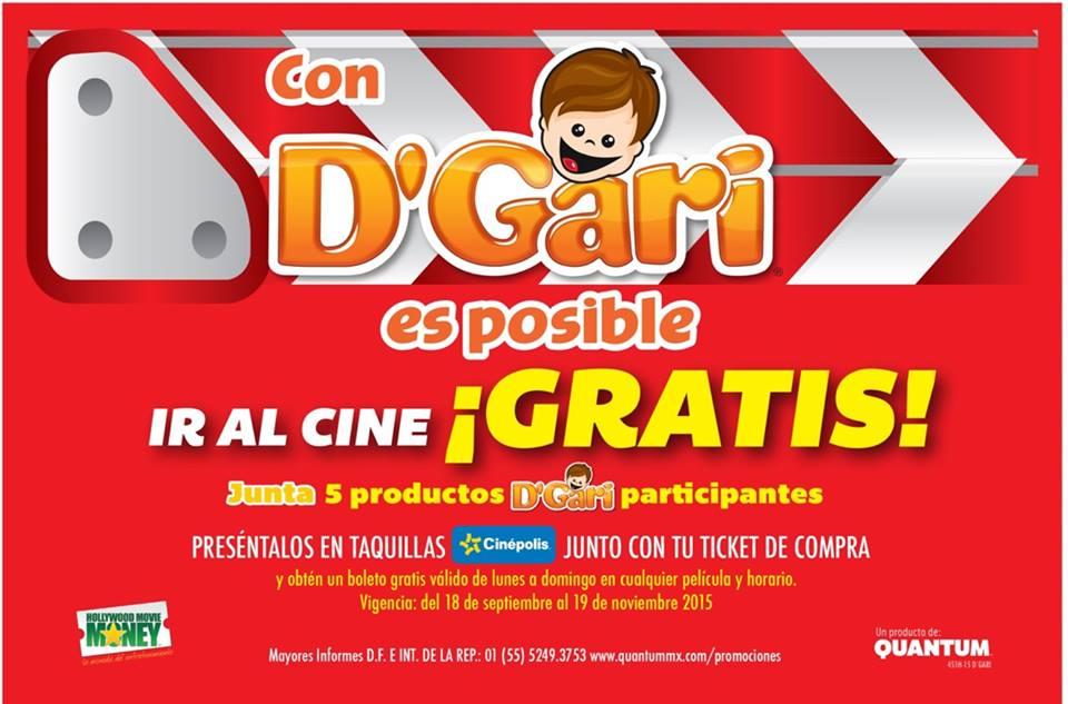 Boleto para Cinépolis gratis comprando gelatinas D'Gari
