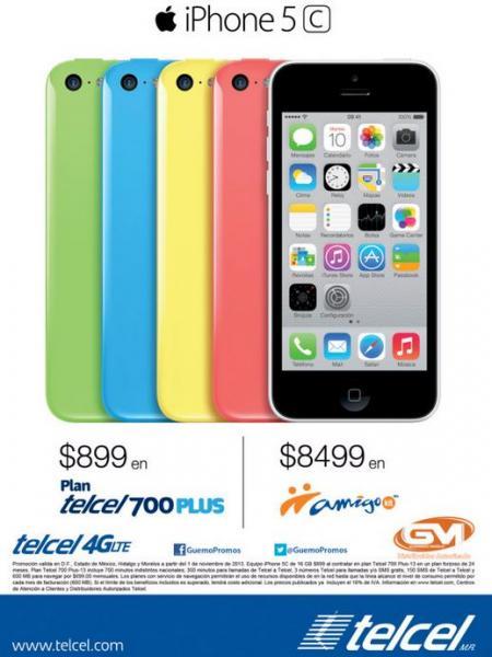 Precios en México del iPhone 5C y iPhone 5S (Movistar, Telcel y Iusacell)