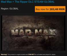 G2A.com Weekly Sale - Mad Max Steam $283.48mn XBOX LGOLD 12 meses 482.05