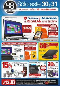 48 horas Banamex en OfficeMax: tablet y Office gratis comprando PC, 15% menos en muebles y +
