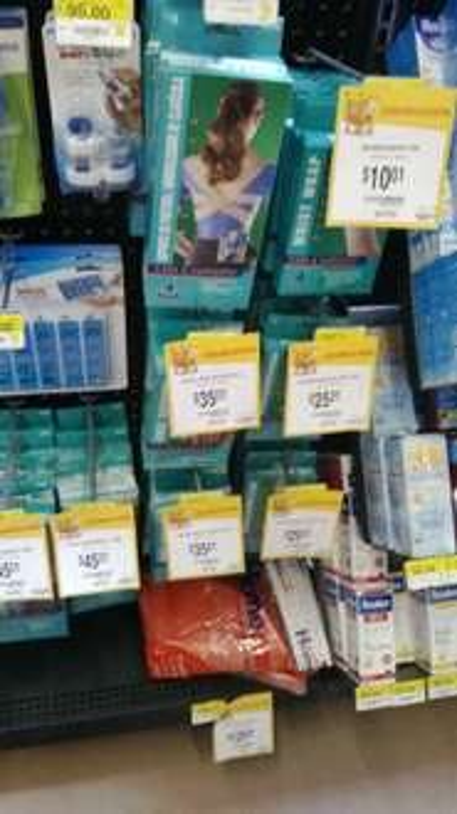 Walmart: tobillera elastica $25.01, rodillera elástica $35.01, faja $45.01