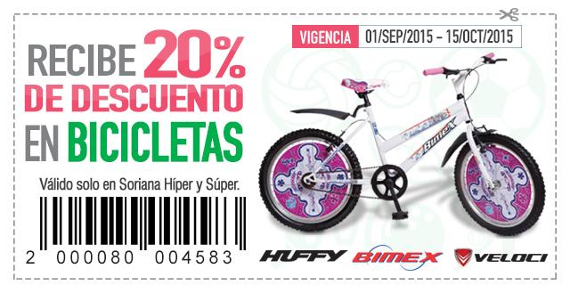 Soriana: cupón de 20% de descuento en bicicletas