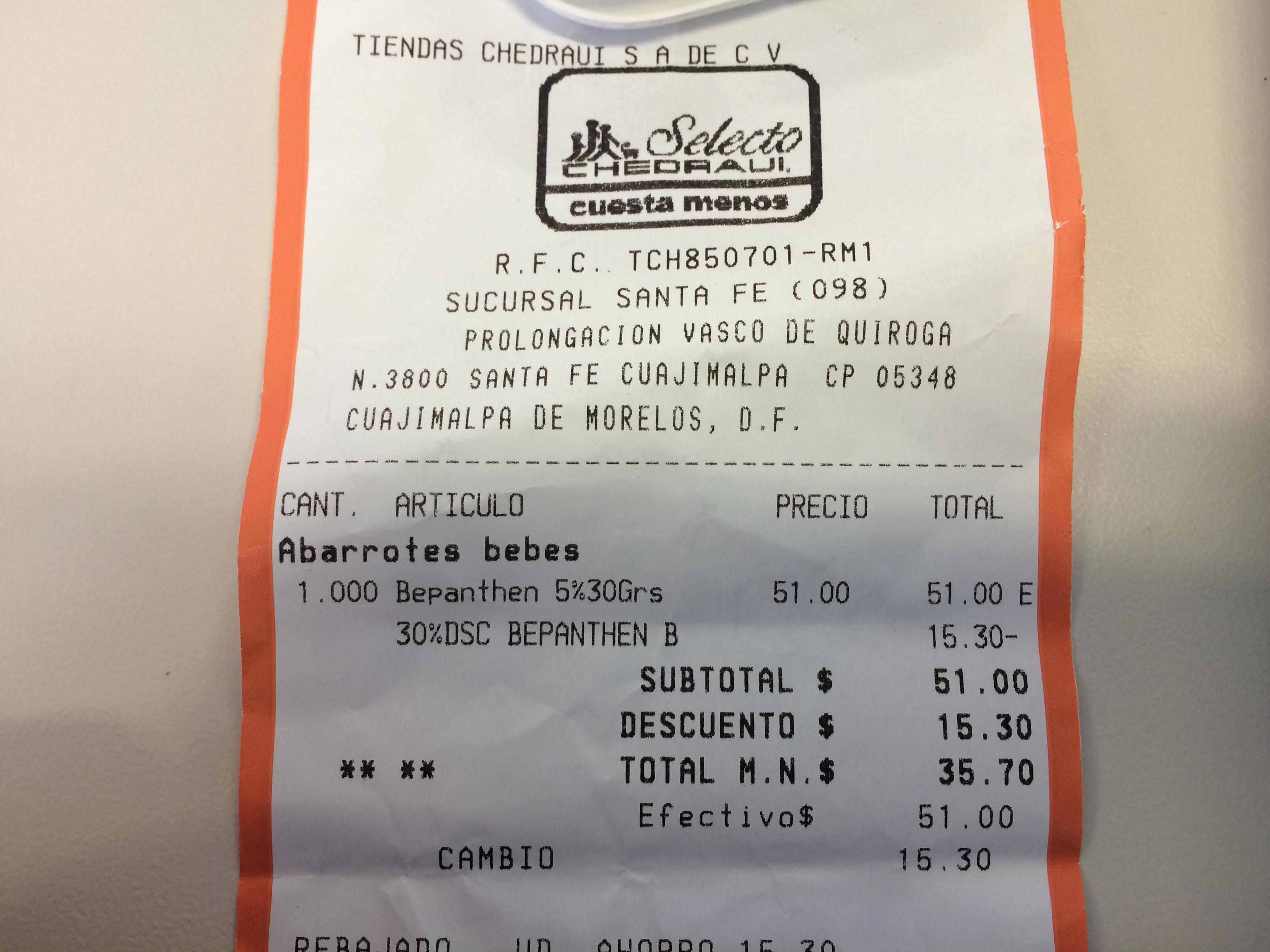 Chedraui: Pomada Bepanthen Rosaduras $35.70