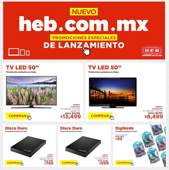 "HEB: TV Magnavox LED 50"" a $6,499, Smart TV LED 50"" Samsung a $13,499, Disco Duro Externo 1TB SEAGATE $999 y más"