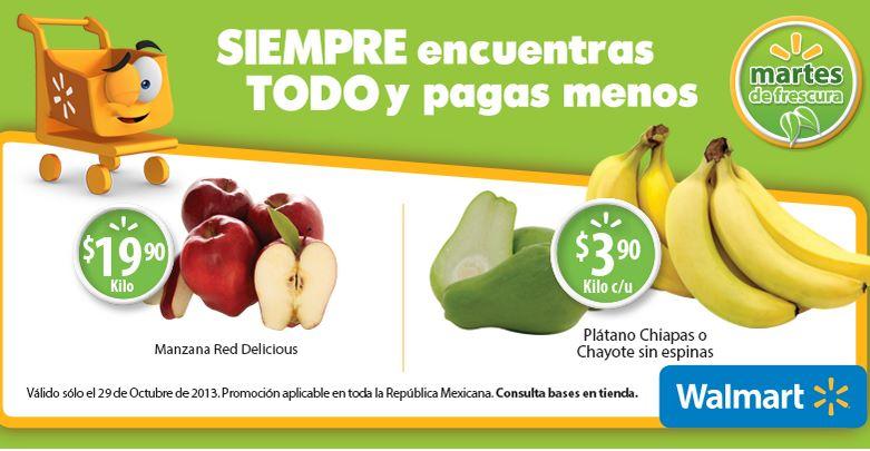 Martes de frescura Walmart octubre 29: plátano $3.90 el kilo y más