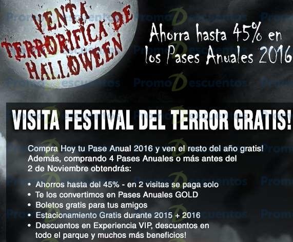 Venta de terror Six Flags: pasea anual 2016 gold $529 comprando 4 (reg $969)