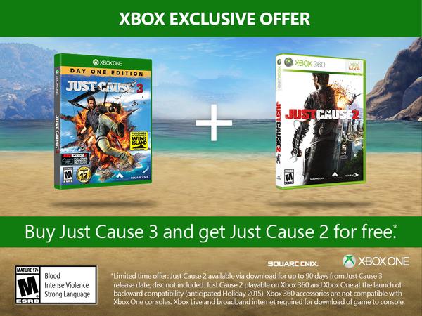 Just Cause 2 gratis comprando Just Cause 3 para Xbox One