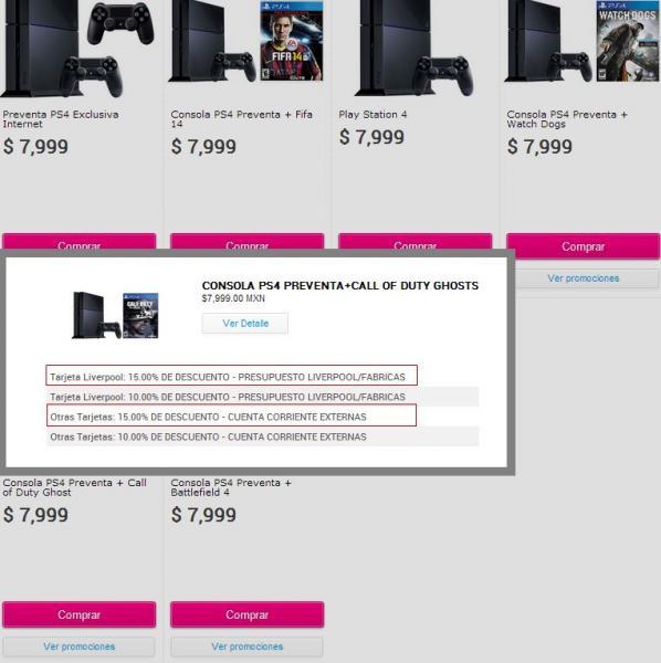 Liverpool: PS4 + 1 juego $6,799  y Xbox One + 1 juego $7,436