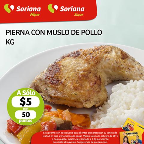 Soriana: Kg de Pierna con muslo de pollo en $5.00 con 50 puntos, Valido solo hoy