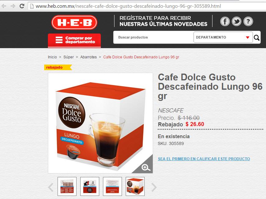 Heb en línea, caja de cafe Dolce Gusto Descafeinado Lungo de 116.00 a 26.60
