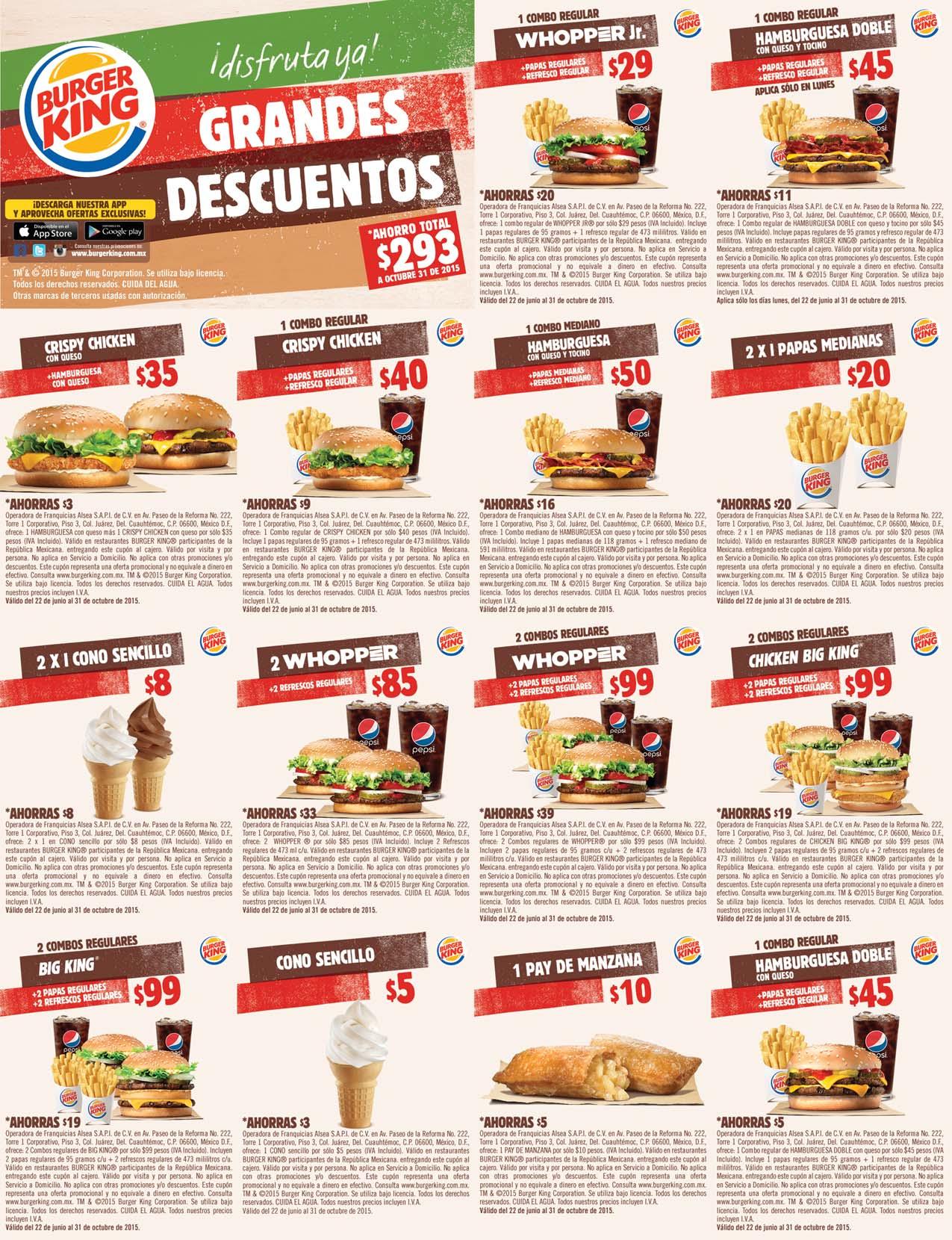 Cupones Octubre Burger King